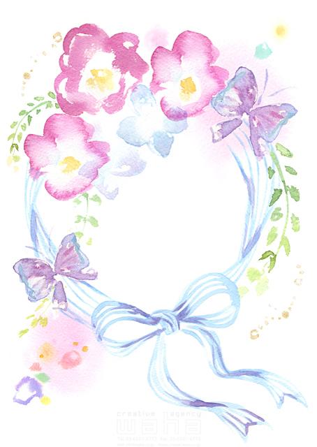 19-1879b たけもと えりこ 水彩、草、花、花束、ブーケ、植物、リボン、蝶、イメージ、咲く