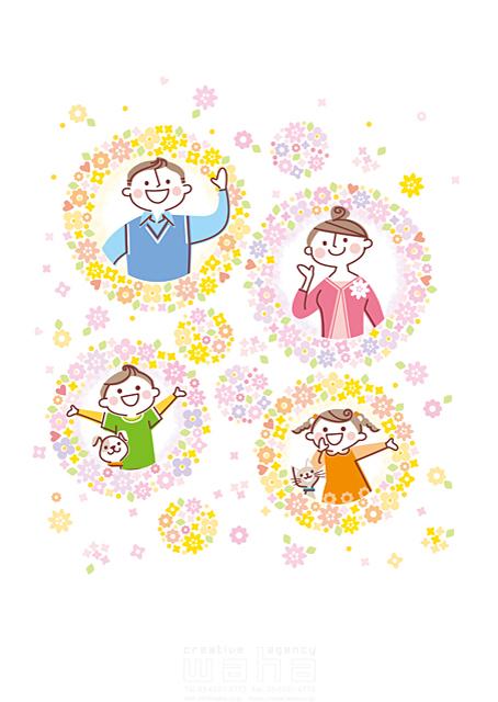 イラスト&写真のストックフォトwaha(ワーハ) 人、人物、大人、男性、女性、親子、父、母、子供、男の子、女の子、家族、動物、犬、猫、花、植物、舞う、イメージ、咲く、春、挨拶、コミュニケーション 町田 直子 19-1886b