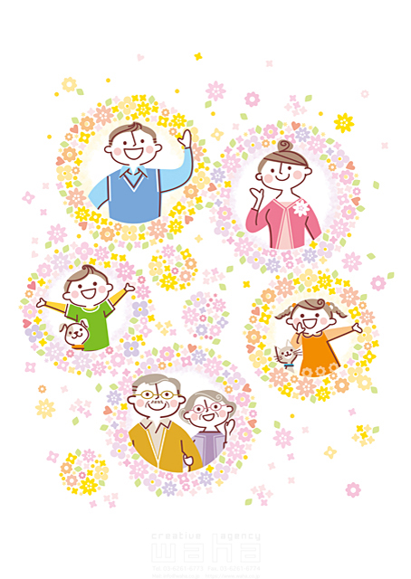 イラスト&写真のストックフォトwaha(ワーハ) 人、人物、シニア、おじいさん、おばあさん、大人、男性、女性、親子、父、母、子供、男の子、女の子、家族、動物、犬、猫、花、植物、舞う、イメージ、咲く、春、三世代、挨拶、コミュニケーション 町田 直子 19-1887b