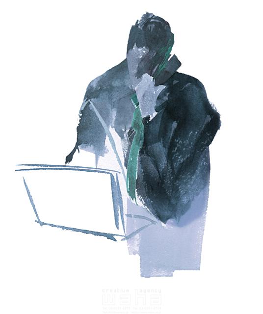 イラスト&写真のストックフォトwaha(ワーハ) 水彩、人、人物、人物イメージ、大人、男性、スーツ、ビジネス、仕事、ビジネスマン、サラリーマン、パソコン、スマホ、電話、営業、ビジネスイメージ、IT系、働く人 SOICHI 19-1888c