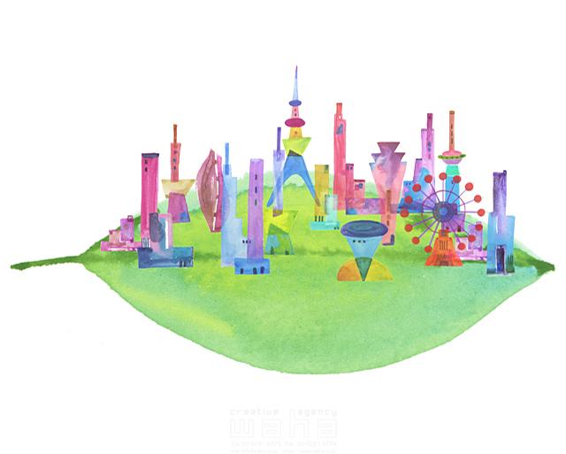 イラスト&写真のストックフォトwaha(ワーハ) 都市、エコロジー、カラフル、ビル、都会、未来、夢、明るい、幸せ、幸福、鮮やか、シティライフ ankun.nakano 19-1892c