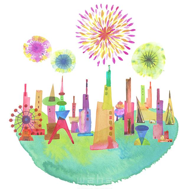 イラスト&写真のストックフォトwaha(ワーハ) 都市、エコロジー、カラフル、ビル、都会、未来、夢、明るい、幸せ、幸福、鮮やか、シティライフ ankun.nakano 19-1894b