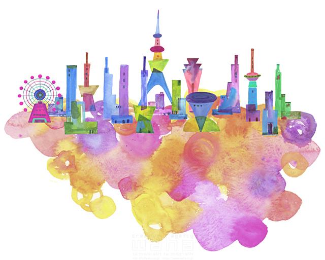 19-1896c ankun.nakano 都市、エコロジー、カラフル、ビル、都会、未来、夢、明るい、幸せ、雲