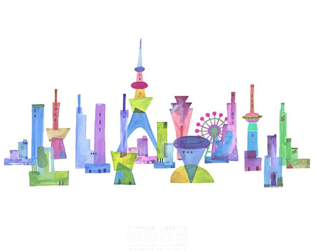イラスト&写真のストックフォトwaha(ワーハ) 都市、エコロジー、カラフル、ビル、都会、未来、夢、明るい、幸せ、雲、幸福、鮮やか、シティライフ ankun.nakano 19-1897b