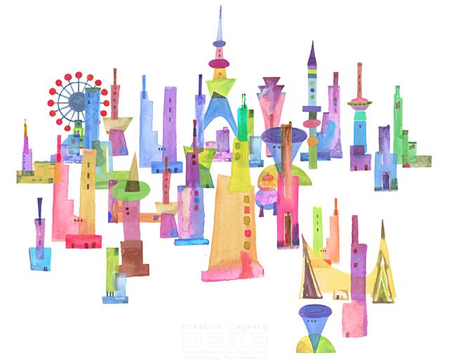 イラスト&写真のストックフォトwaha(ワーハ) 都市、エコロジー、カラフル、ビル、都会、未来、夢、明るい、幸せ、雲、幸福、鮮やか、シティライフ ankun.nakano 19-1898c
