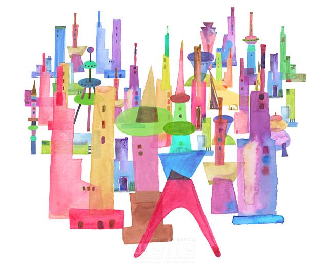 イラスト&写真のストックフォトwaha(ワーハ) 都市、エコロジー、カラフル、ビル、都会、未来、夢、明るい、幸せ、幸福、鮮やか、シティライフ ankun.nakano 19-1899c