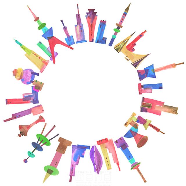 イラスト&写真のストックフォトwaha(ワーハ) 都市、エコロジー、カラフル、ビル、都会、未来、夢、明るい、幸せ、幸福、円、丸、フリースペース、空白、シティライフ ankun.nakano 19-1901c