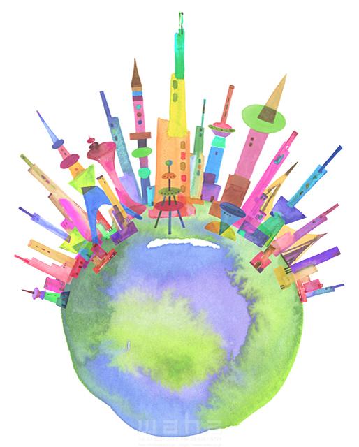 19-1905c ankun.nakano 都市、エコロジー、カラフル、ビル、都会、未来、夢、明るい、幸せ、幸福