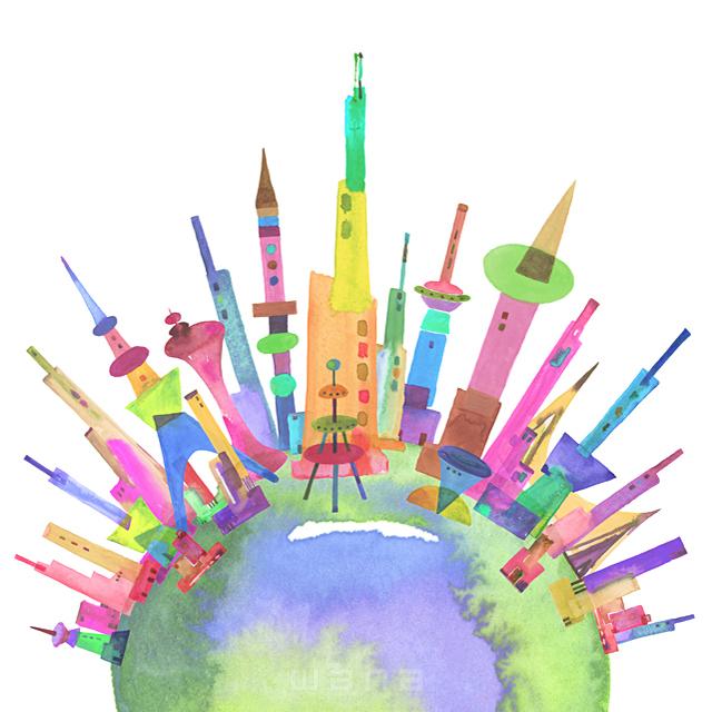 イラスト&写真のストックフォトwaha(ワーハ) 都市、エコロジー、カラフル、ビル、都会、未来、夢、明るい、幸せ、幸福、円、丸、地球、世界、平和、鮮やか、シティライフ ankun.nakano 19-1908c