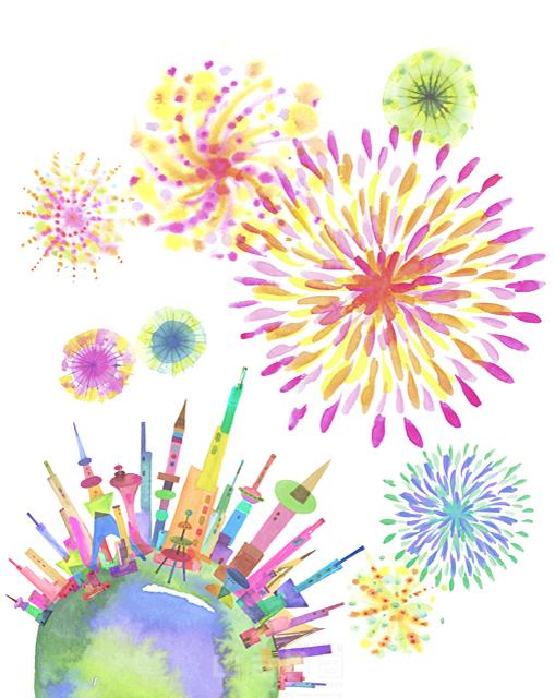 イラスト&写真のストックフォトwaha(ワーハ) 都市、エコロジー、カラフル、ビル、都会、未来、夢、明るい、幸せ、幸福、円、丸、地球、世界、平和、鮮やか、花火、シティライフ ankun.nakano 19-1910c
