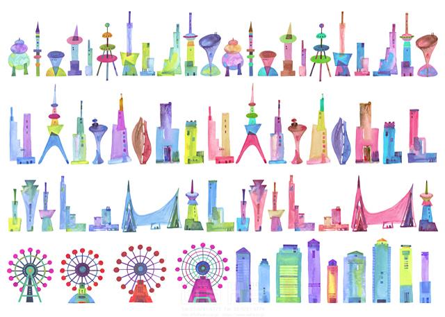 イラスト&写真のストックフォトwaha(ワーハ) 都市、エコロジー、カラフル、ビル、都会、未来、夢、明るい、幸せ、幸福、世界、平和、鮮やか、花火、角盤、密集、シティライフ ankun.nakano 19-1912c