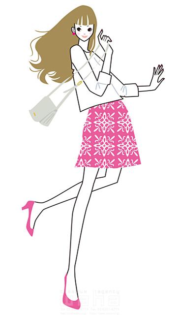 イラスト&写真のストックフォトwaha(ワーハ) 女性、オシャレ、綺麗、大人、ビジネスウーマン、OL、バック、ショッピング、買物、休日、お出かけ、ファッション、シティライフ 小倉 あん 19-1914b