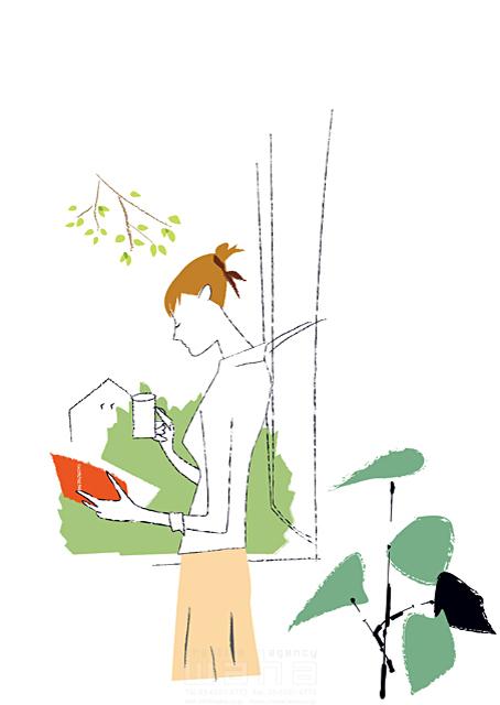 イラスト&写真のストックフォトwaha(ワーハ) シティライフ、女性、本、休日、午後、植木、休憩、コーヒーブレイク、読書、観葉植物、ビジネスウーマン、シンプル 相田 洋 19-1919b