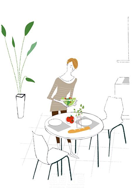 イラスト&写真のストックフォトwaha(ワーハ) シティライフ、女性、服、朝食、昼食、観葉植物、サラダ、日常、生活、シンプル 相田 洋 19-1920b