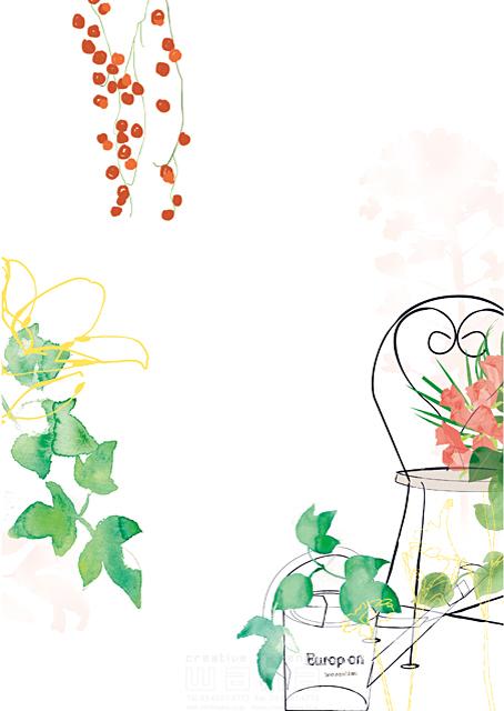 イラスト&写真のストックフォトwaha(ワーハ) シティライフ、観葉植物、花、ガーデニング、植物、椅子、癒し、休日、シンプル 都筑 みなみ 19-1922b