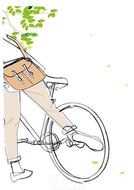 イラスト&写真のストックフォトwaha(ワーハ) シティライフ、自転車、植物、大学生、休日、男性、シンプル 都筑 みなみ 19-1923b