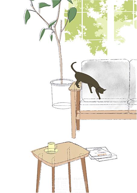 イラスト&写真のストックフォトwaha(ワーハ) シティライフ、猫、ソファ、観葉植物、生活、休日、くつろぐ、家具、日常、ペット、休憩、シンプル 都筑 みなみ 19-1924b