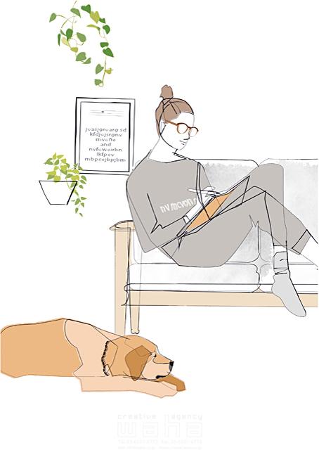 イラスト&写真のストックフォトwaha(ワーハ) シティライフ、シンプル、読書、ソファ、椅子、ペット、休日、眼鏡、女性、犬、植物 都筑 みなみ 19-1928b