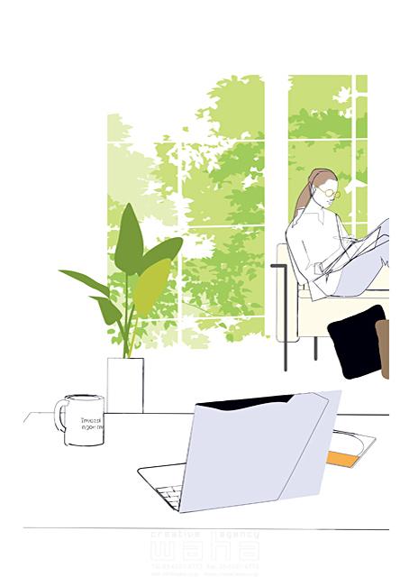 イラスト&写真のストックフォトwaha(ワーハ) シティライフ、シンプル、休日、植物、自然、女性、草、パソコン、ソファ 都筑 みなみ 19-1930b