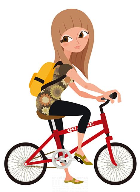 イラスト&写真のストックフォトwaha(ワーハ) シティライフ、女性、アクティブ、自転車、運動、サイクル、ツーリング、休日 両口 和史 19-1931b