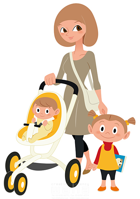イラスト&写真のストックフォトwaha(ワーハ) シティライフ、赤ちゃん、女性、育児、笑顔、幸せ 両口 和史 19-1940c