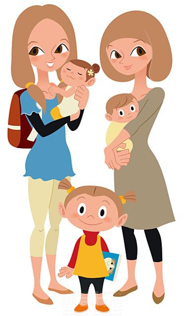 イラスト&写真のストックフォトwaha(ワーハ) シティライフ、赤ちゃん、女性、少女、育児、笑顔、ママ友、友人、幸せ 両口 和史 19-1947c