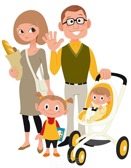 イラスト&写真のストックフォトwaha(ワーハ) シティライフ、家族、笑顔、男性、女性、女の子、夫婦、赤子、赤ちゃん、パン、買物、眼鏡、ショッピング、幸せ、笑顔、ベビーカー、育児 両口 和史 19-1949c