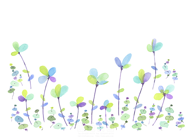 イラスト&写真のストックフォトwaha(ワーハ) 水彩、花、植物、草、緑、咲く、春、エコロジー、自然、芽、カラフル、成長 中野 和美 19-1950b