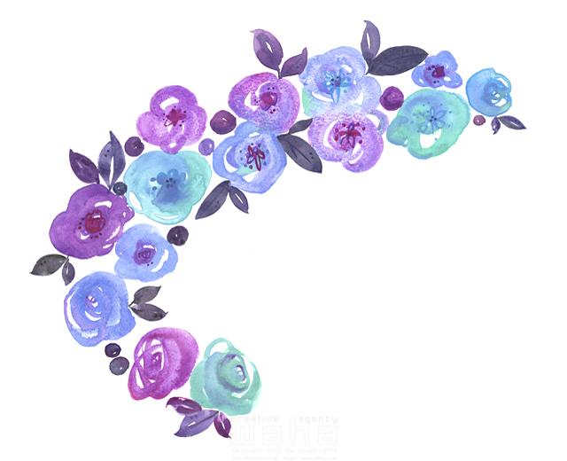 イラスト&写真のストックフォトwaha(ワーハ) 水彩、花、植物、草、緑、青、咲く、春、エコロジー、自然、芽、カラフル、成長 中野 和美 19-1954b