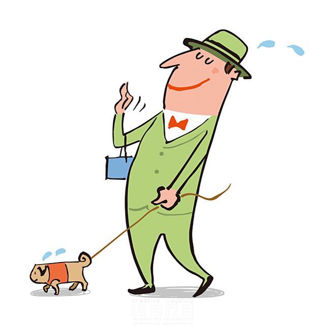 イラスト&写真のストックフォトwaha(ワーハ) 人物、男性、屋外、おしゃれ、外出、お出かけ、散歩、犬、ペット、暑い、汗 小沢和夫イラスト工房 19-1956b