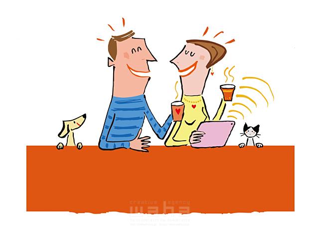 イラスト&写真のストックフォトwaha(ワーハ) 人物、男性、女性、夫婦、カップル、飲み物、笑う、話す、犬、猫、ペット 小沢和夫イラスト工房 19-1959b