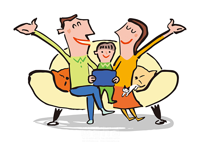 19-1962b 小沢和夫イラスト工房 人物、男性、女性、夫婦、子供、男の子、女の子、小学生、家族、親子
