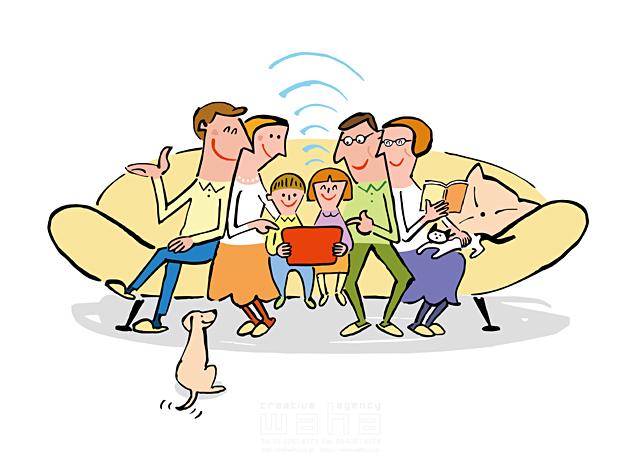 イラスト&写真のストックフォトwaha(ワーハ) 人物、男性、女性、夫婦、子供、男の子、女の子、小学生、家族、親子、集団、屋内、ソファ、笑う、犬、猫、ペット、タブレット 小沢和夫イラスト工房 19-1963c