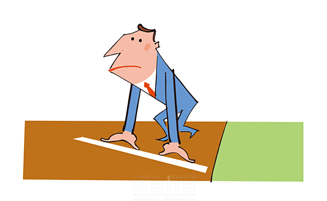 イラスト&写真のストックフォトwaha(ワーハ) 人物、男性、スーツ、ビジネス、ビジネスマン、サラリーマン、仕事、スタート、競走、走る 小沢和夫イラスト工房 19-1970b