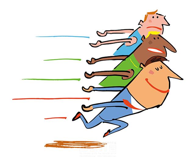 イラスト&写真のストックフォトwaha(ワーハ) 人物、男性、スーツ、ビジネス、ビジネスマン、サラリーマン、仕事、競走、走る、元気 小沢和夫イラスト工房 19-1972b