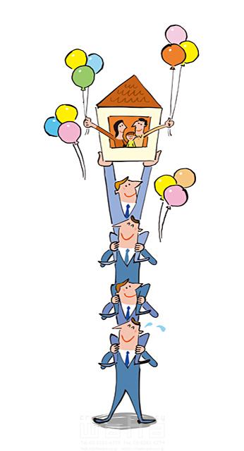 19-1982c 小沢和夫イラスト工房 人物、男性、女性、夫婦、親子、子供、スーツ、ビジネス、ビジネスマン、サラリーマン