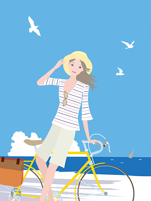 イラスト&写真のストックフォトwaha(ワーハ) 人物、女性、若者、屋外、夏、海辺、サイクリング、自転車、帽子、カモメ 海野 富子 19-1983b