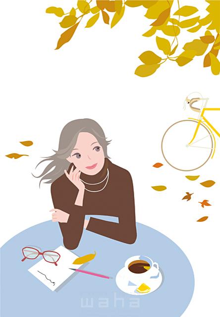 イラスト&写真のストックフォトwaha(ワーハ) 人物、女性、若者、屋外、カフェ、喫茶店、おしゃれ、秋、サイクリング、自転車、紅葉、コーヒー 海野 富子 19-1984b