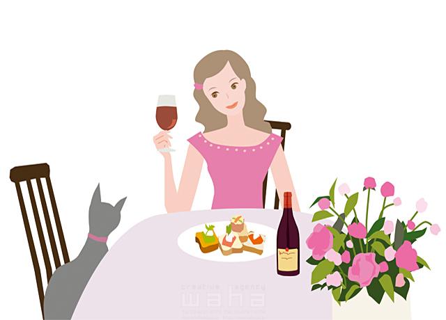 イラスト&写真のストックフォトwaha(ワーハ) 人物、女性、若者、屋内、マンション、部屋、窓、家、ワイン、乾杯、おひとり様、楽しい 海野 富子 19-1986b