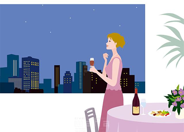 イラスト&写真のストックフォトwaha(ワーハ) 人物、女性、若者、屋内、マンション、部屋、家、ワイン、乾杯、おひとり様、夜景、キレイ、見上げる 海野 富子 19-1987c