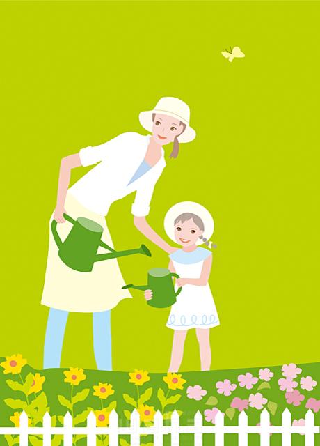 イラスト&写真のストックフォトwaha(ワーハ) 人物、女性、親子、家族、お母さん、子供、女の子、屋外、家、庭、花壇、花、蝶、自然、ロハス、エコロジー 海野 富子 19-1988c