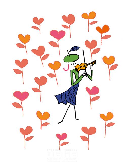 イラスト&写真のストックフォトwaha(ワーハ) 人物イメージ、妖精、天使、ハート、平和、緑、植物、自然、愛情、ナチュラル、ほのぼの、花、音楽、ヴァイオリン eka 19-1992b