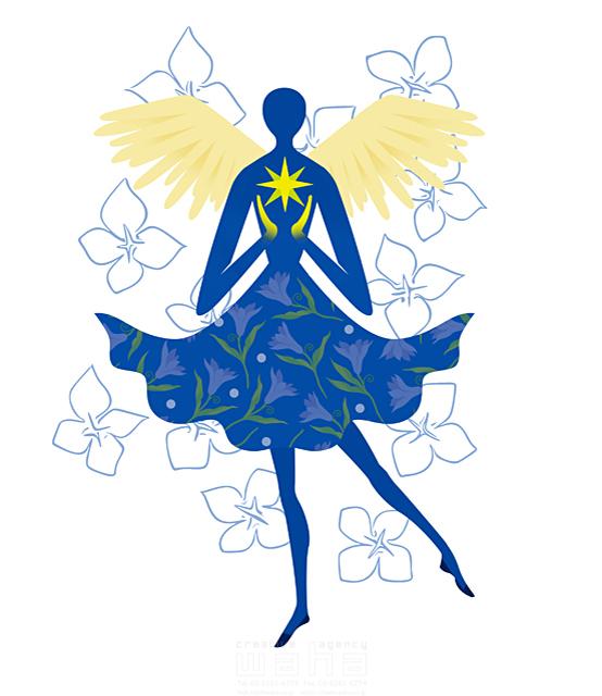 イラスト&写真のストックフォトwaha(ワーハ) 人物イメージ、女性、シルエット、シンボリック、平和、安心、不思議、ファンタジー、メルヘン、花、自然、植物、エコロジー、天使、妖精 eka 19-1997b
