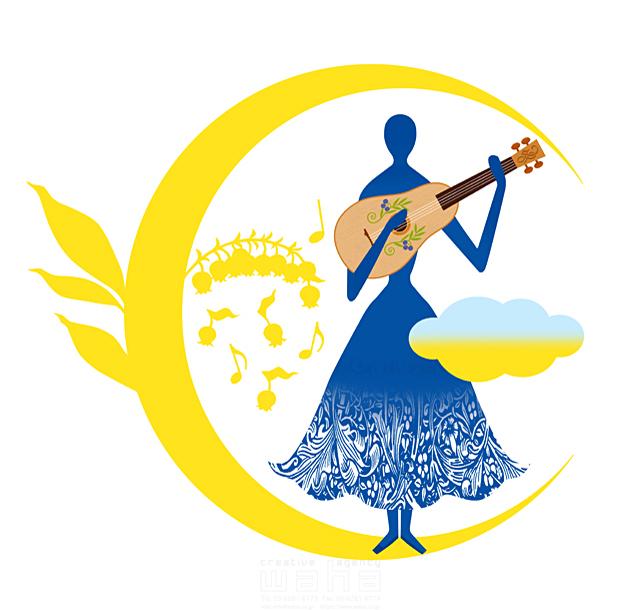 イラスト&写真のストックフォトwaha(ワーハ) 人物イメージ、女性、シルエット、シンボリック、平和、安心、不思議、ファンタジー、メルヘン、自然、植物、エコロジー、女神、音楽、ギター、音符、月 eka 19-1999b