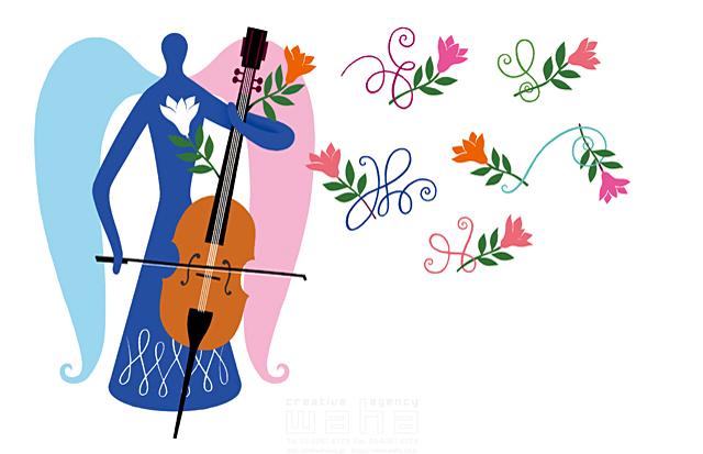 イラスト&写真のストックフォトwaha(ワーハ) 人物イメージ、女性、シルエット、シンボリック、平和、安心、不思議、ファンタジー、メルヘン、花、自然、植物、エコロジー、女神、妖精、天使、音楽、チェロ eka 19-2001b