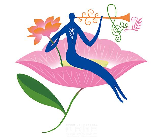 イラスト&写真のストックフォトwaha(ワーハ) 人物イメージ、シルエット、シンボリック、平和、安心、不思議、ファンタジー、メルヘン、花、自然、植物、エコロジー、音楽、トランペット、ラッパ eka 19-2002b