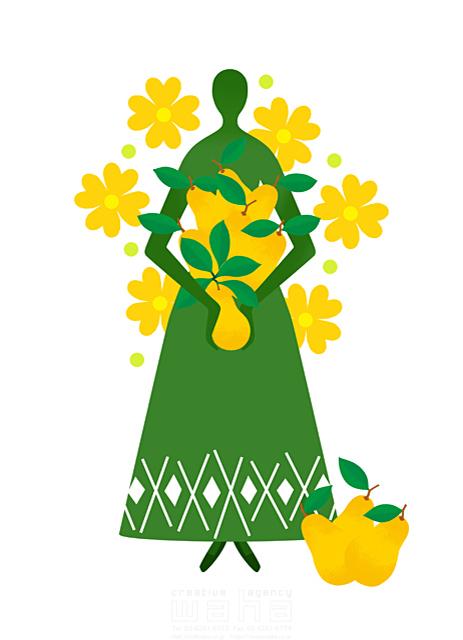 イラスト&写真のストックフォトwaha(ワーハ) 人物イメージ、女性、シルエット、シンボリック、平和、安心、不思議、ファンタジー、メルヘン、花、自然、植物、果物、エコロジー、女神 eka 19-2006b