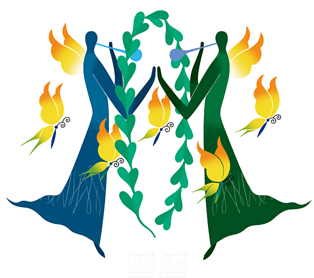 イラスト&写真のストックフォトwaha(ワーハ) 人物イメージ、女性、シルエット、シンボリック、平和、安心、不思議、ファンタジー、メルヘン、花、自然、植物、エコロジー、女神、蝶、ハート、愛情 eka 19-2009b