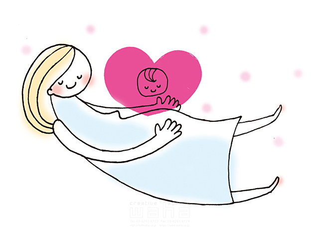 イラスト&写真のストックフォトwaha(ワーハ) 人物、女性、家族、お母さん、母親、親子、妊婦、マタニティ、妊娠、子供、赤ちゃん、笑顔、ハート、愛情、絆、安心 きつ まき 19-2011b