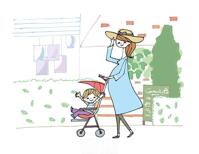 イラスト&写真のストックフォトwaha(ワーハ) 人物、女性、家族、お母さん、母親、親子、妊婦、マタニティ、妊娠、子供、男の子、赤ちゃん、笑顔、絆、安心、ベビーカー、おでかけ、散歩、おしゃれ きつ まき 19-2013b